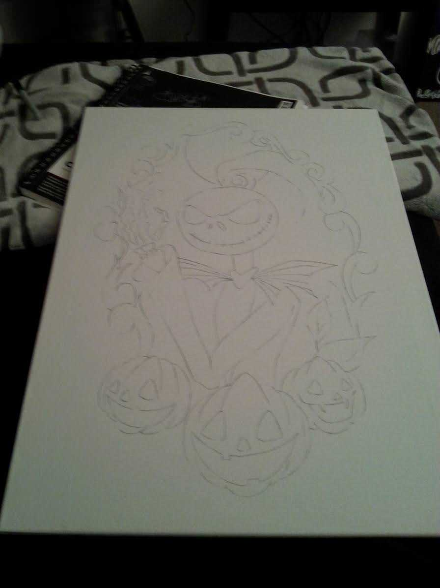 Nightmare Before Christmas Canvas Outline
