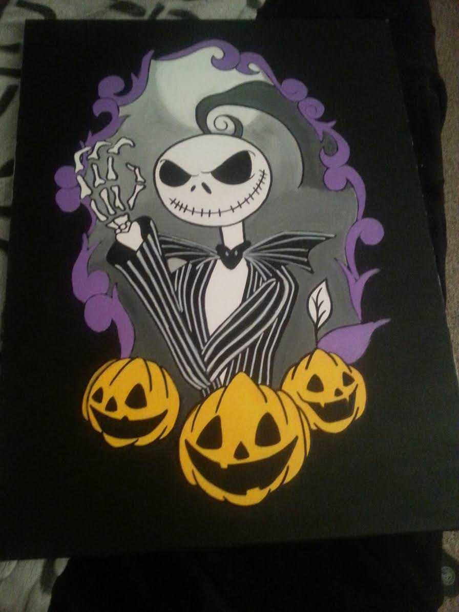 Nightmare Before Christmas Canvas Purple Trim